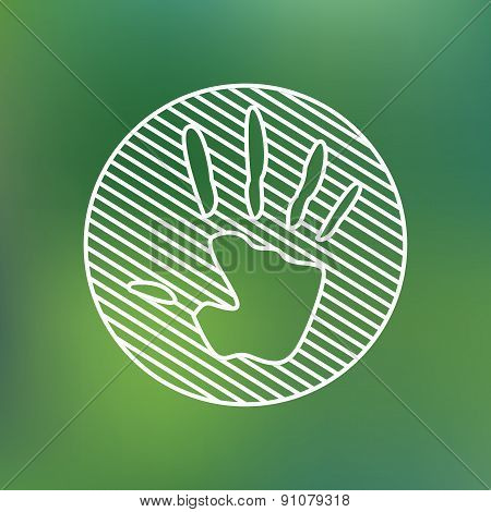 Hand print sign linear icon. Stop pollution environmental symbol. Planet protection care recycling s