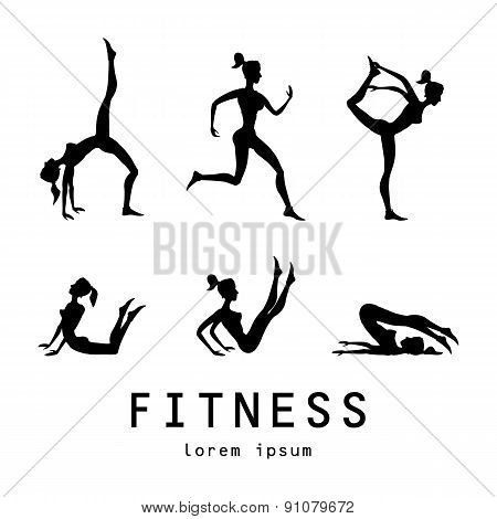 Poses Silhouettes Vector Yoga Illustration. Set. Women Class Center Studio