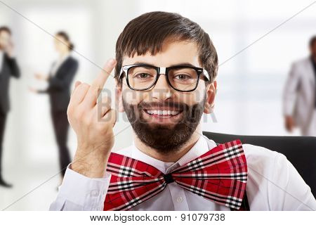 Funny old fashioned man showing middle finger.