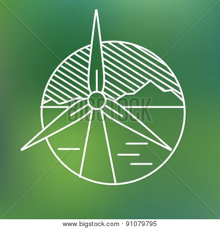 wind turbine linear icon, eco generating electricity save planet concept.