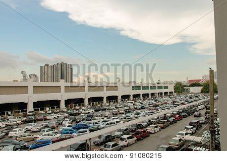 Cars Park A Lot With Sky And Cloud At Bangkok , Thailand