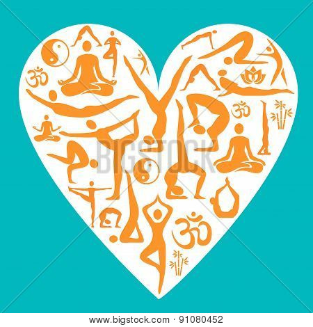 I Love Yoga decorative background