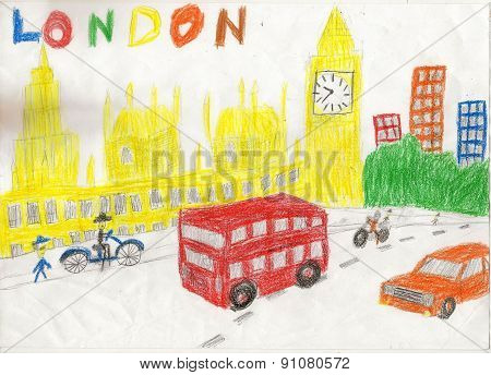 European Capital, Sketch, London, Modernist Style, Background, Colors