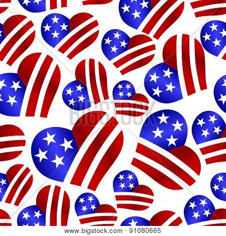 Usa Colors Hearth Shape Celebration Seamless Pattern Eps10