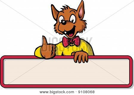 Happy cartoon mouse with bulletin board