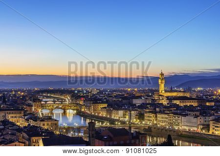 View Of Florence With Ponte Vecchio, Italy