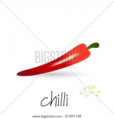 Red Hot Chilli Pepper With Seeds And Shadow Eps10