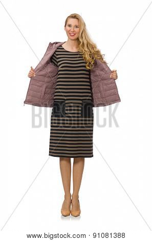 Pretty woman in winter lilac jacket isolated on white