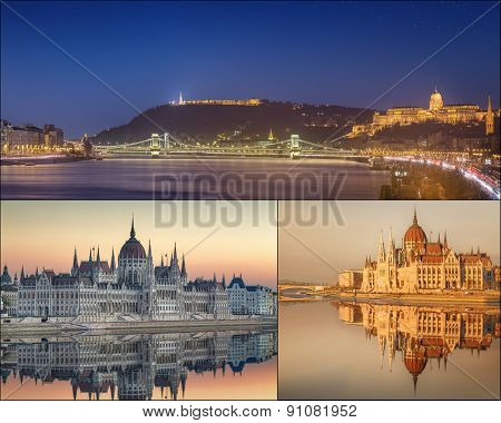 The beauty panorama of attractions Budapest.