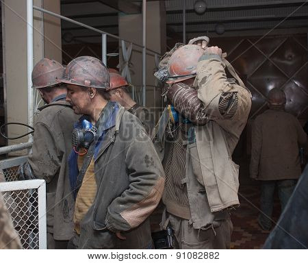 Donetsk, Ukraine - March, 25, 2013: Miners Mine Named After Abakumov Receive Personal Protective Equ