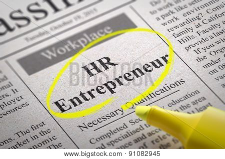 HR  Entrepreneur Vacancy in Newspaper.