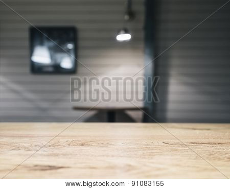 Table top counter with Bar table Blurred Background with Lighting