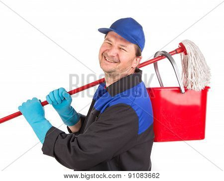 Man holding cleaning mop and bucket.