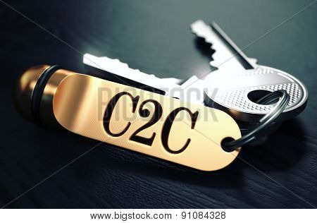 C2C Concept. Keys with Golden Keyring.