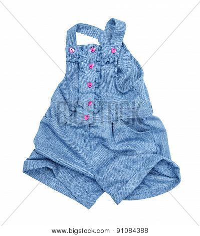 Rompers Of Blue Jeans Isolated On A White Background