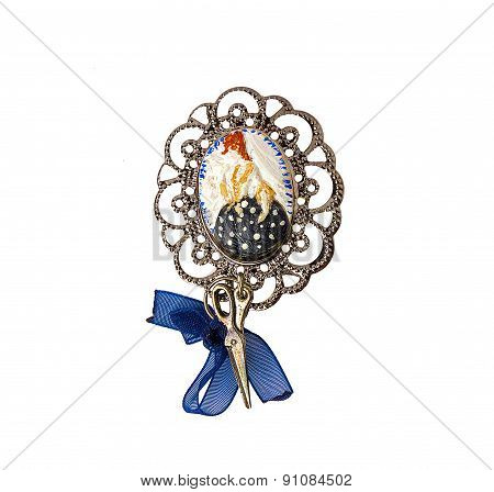Vintage Brooch Isolated On White
