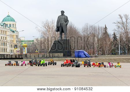 Donetsk, Ukraine - December, 11 February, 2015: Children's Rides On The Deserted Central Square Agai