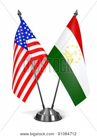 USA and Tajikistan - Miniature Flags.