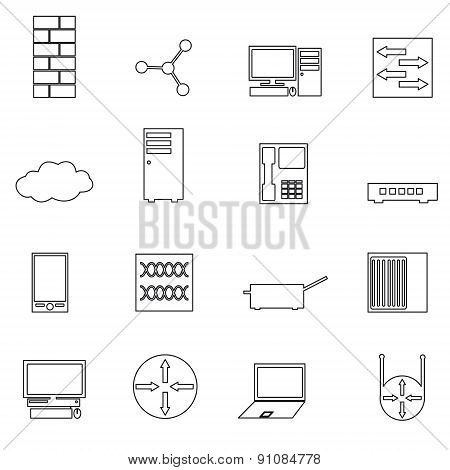 Computer Network Simple Outline Icons Set Eps10