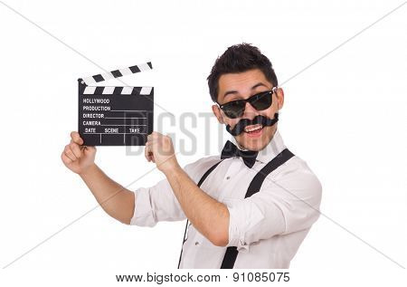 Funny with movie clapper isolated on white