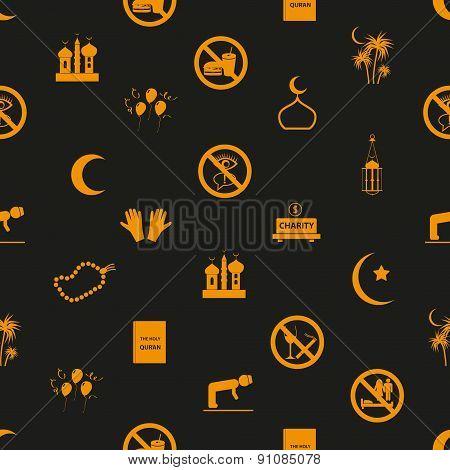 Ramadan Islam Holiday Icons Seamless Pattern Eps10