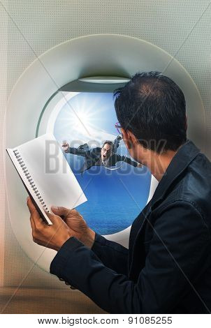 Business Man Reading Book In Passenger Plane Seat And Looking To Out Side Of Plane See Another Busen