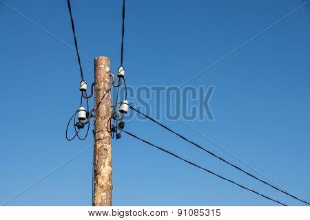 Wooden Column With Electric Wires Of Natural Color
