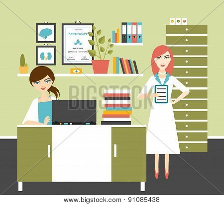 Woman Doctor And Nurse Office Workplace.