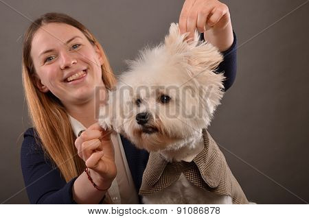 Maltese And Blonde Girl