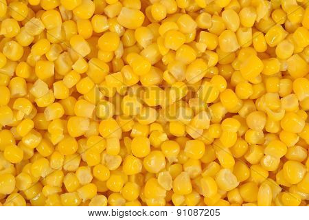 Canned Sweet Corn As Background
