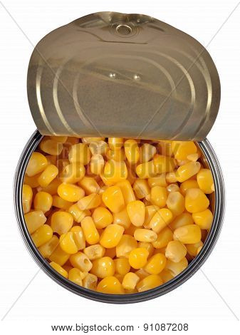 Canned Sweet Corn In A Tin Can.
