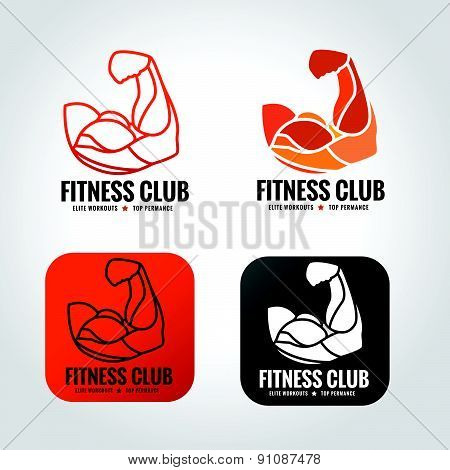 arm muscle vector logo design for fitness gym