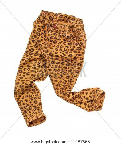 Stylish Children's Jeans With Leopard Print On An Isolated White Background