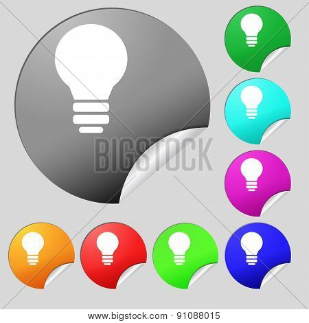 Light Lamp, Idea  Icon Sign. Set Of Eight Multi-colored Round Buttons, Stickers. Vector