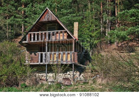 Abandoned wooden house in small village