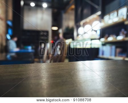 Table Top Counter Bar Blurred Restaurant Background With Customer