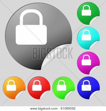 Pad Lock  Icon Sign. Set Of Eight Multi-colored Round Buttons, Stickers. Vector