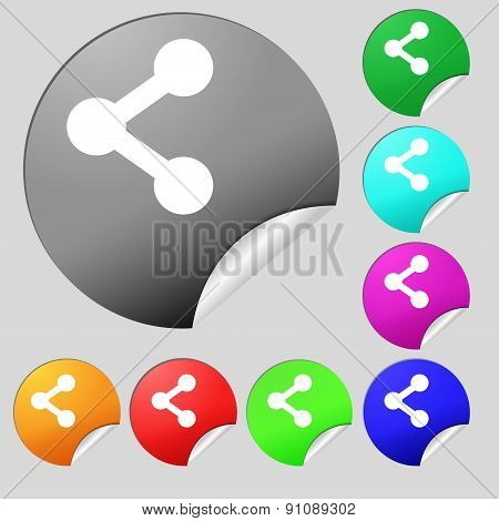 Share  Icon Sign. Set Of Eight Multi-colored Round Buttons, Stickers. Vector