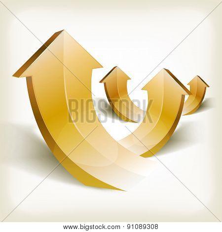 Abstract Golden Rising Arrows