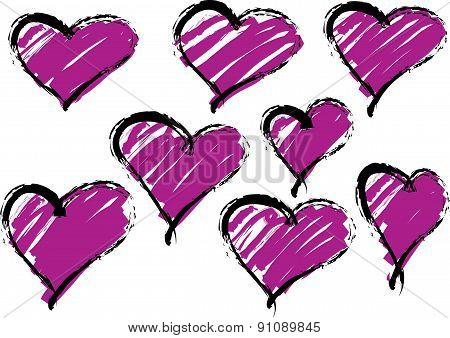 Purple vector hearts