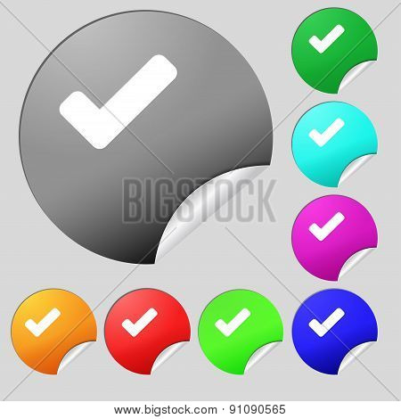 Check Mark, Tik  Icon Sign. Set Of Eight Multi-colored Round Buttons, Stickers. Vector