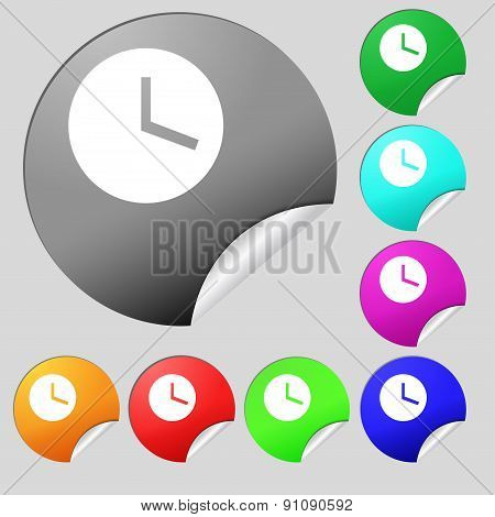 Mechanical Clock   Icon Sign. Set Of Eight Multi-colored Round Buttons, Stickers. Vector