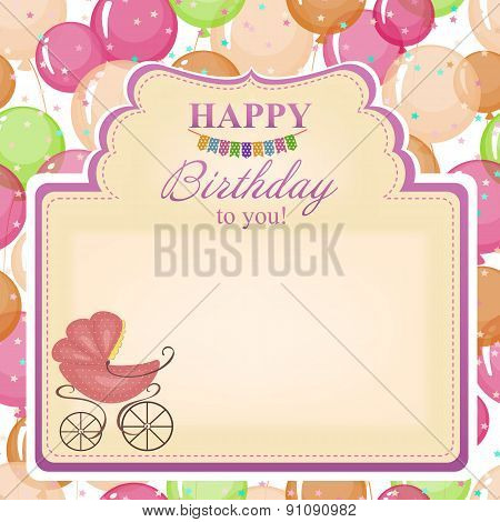 Childrens Congratulatory Background With A Pink Stroller.