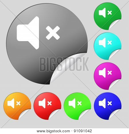 Mute Speaker , Sound  Icon Sign. Set Of Eight Multi-colored Round Buttons, Stickers. Vector