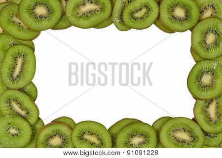 Frame Of Kiwi Slices On A White