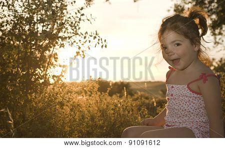 Toddler Girl On Dehesa Sunset