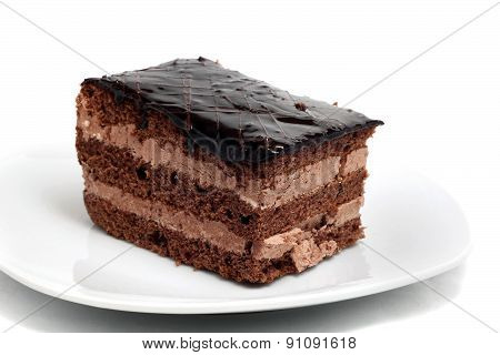 Small Chocolate Cake On A Plate