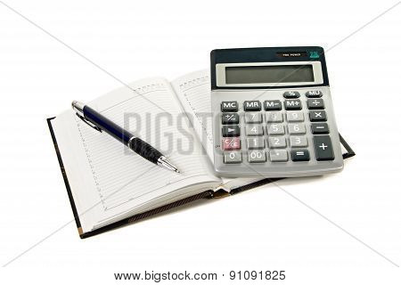 Calculator, Notepad And Pen