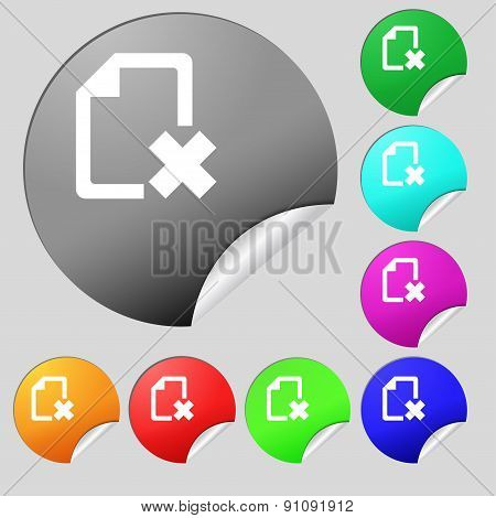 Delete File Document  Icon Sign. Set Of Eight Multi-colored Round Buttons, Stickers. Vector