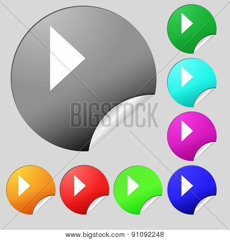 Play Button  Icon Sign. Set Of Eight Multi-colored Round Buttons, Stickers. Vector